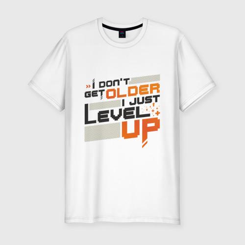 Мужская футболка премиум с принтом Я не старею, я повышаю уровень!, вид спереди #2