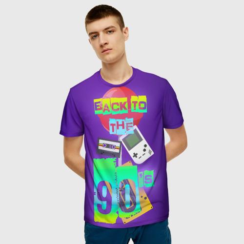 Мужская 3D футболка с принтом Назад в 90, фото на моделе #1