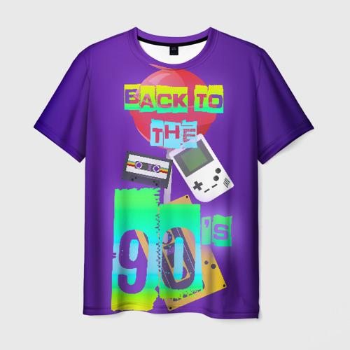 Мужская 3D футболка с принтом Назад в 90, вид спереди #2