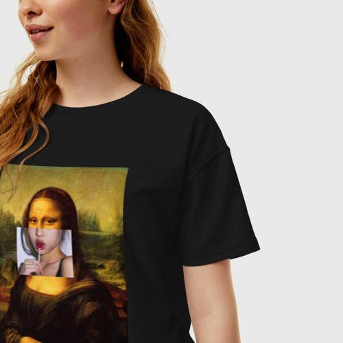 Женская футболка oversize с принтом Мона лиза, фото на моделе #1