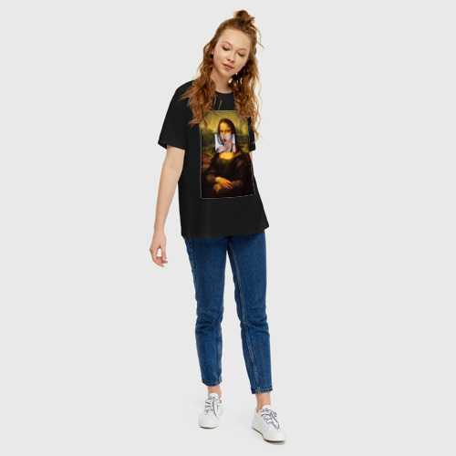 Женская футболка oversize с принтом Мона лиза, вид сбоку #3