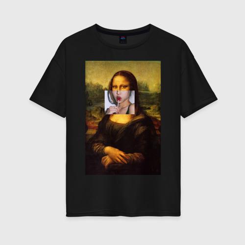 Женская футболка oversize с принтом Мона лиза, вид спереди #2
