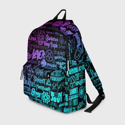 Рюкзак 3D с принтом ЛОГОТИПЫ РОК ГРУПП, вид спереди #2