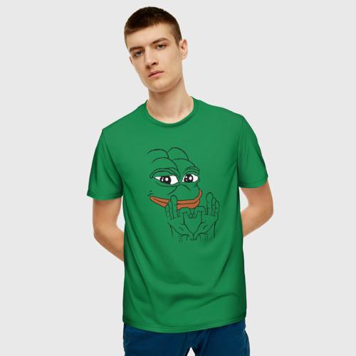 Мужская 3D футболка с принтом PepeLove, фото на моделе #1