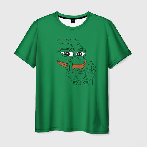 Мужская 3D футболка с принтом PepeLove, вид спереди #2