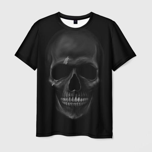 Мужская 3D футболка с принтом ЧЕРЕП В ТЕМНОТЕ, вид спереди #2