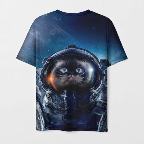 Мужская 3D футболка с принтом Кот космонавт, вид сзади #1