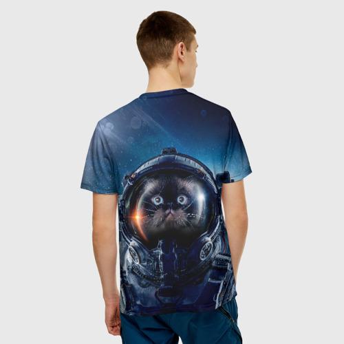 Мужская 3D футболка с принтом Кот космонавт, вид сзади #2