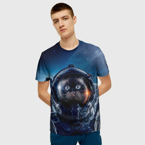 Мужская 3D футболка с принтом Кот космонавт, фото на моделе #1