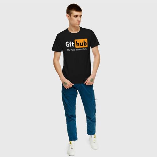 Мужская футболка с принтом GitHub Fork Place, вид сбоку #3