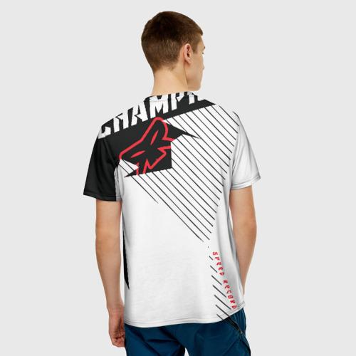 Мужская 3D футболка с принтом Форма для мотокросса FOX, вид сзади #2