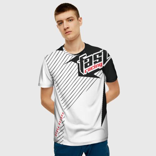 Мужская 3D футболка с принтом Форма для мотокросса FOX, фото на моделе #1