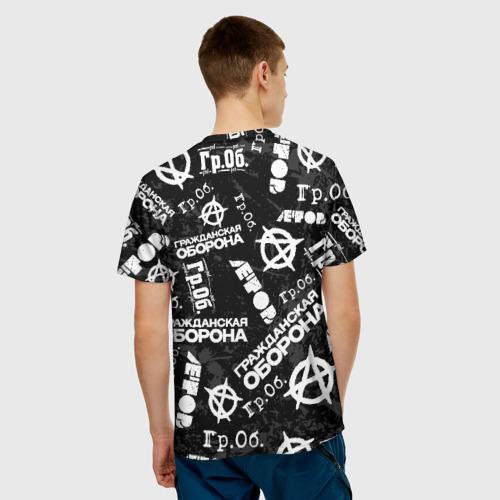Мужская 3D футболка с принтом ГРАЖДАНСКАЯ ОБОРОНА, вид сзади #2