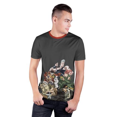Мужская футболка 3D спортивная с принтом Герои JoJo на сером, фото на моделе #1