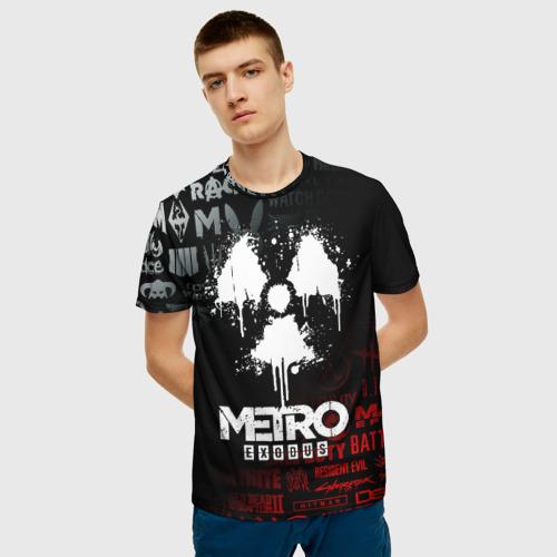 Мужская 3D футболка с принтом METRO EXODUS, фото на моделе #1