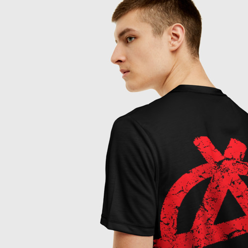 Мужская 3D футболка с принтом ГрОб + Анархия (спина), вид сзади #2