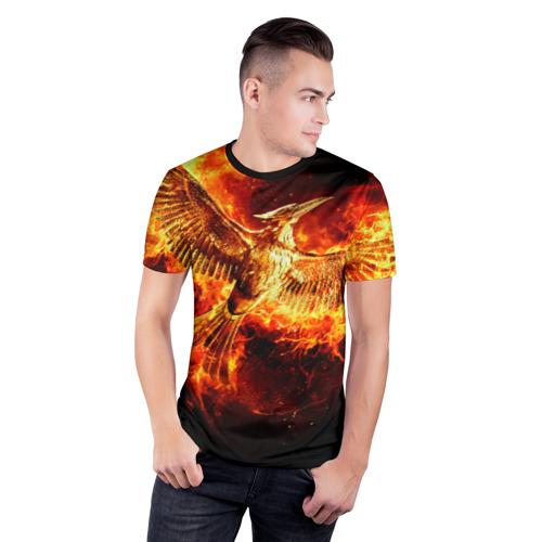Мужская футболка 3D спортивная с принтом Феникс в огне, фото на моделе #1