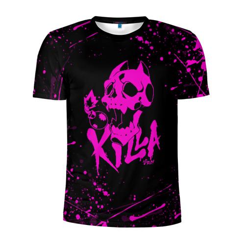 Мужская футболка 3D спортивная KILLER QUEEN розовые брызги