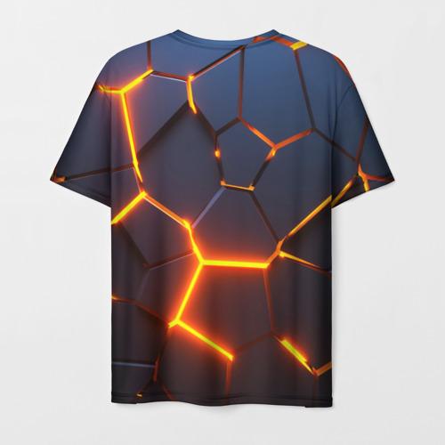 Мужская 3D футболка с принтом 3D ПЛИТЫ   NEON STEEL   НЕОНОВЫЕ ПЛИТЫ   РАЗЛОМ, вид сзади #1