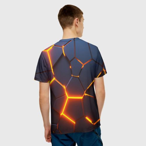 Мужская 3D футболка с принтом 3D ПЛИТЫ   NEON STEEL   НЕОНОВЫЕ ПЛИТЫ   РАЗЛОМ, вид сзади #2