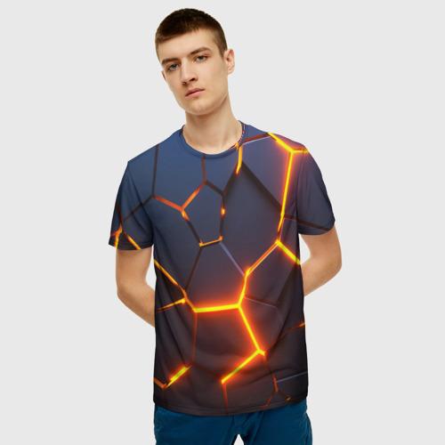 Мужская 3D футболка с принтом 3D ПЛИТЫ   NEON STEEL   НЕОНОВЫЕ ПЛИТЫ   РАЗЛОМ, фото на моделе #1