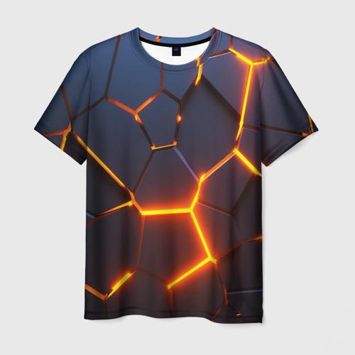 Мужская 3D футболка 3D ПЛИТЫ | NEON STEEL | НЕОНОВЫЕ ПЛИТЫ | РАЗЛОМ