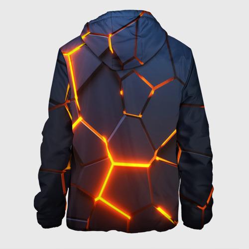Мужская куртка 3D с принтом 3D ПЛИТЫ   NEON STEEL   НЕОНОВЫЕ ПЛИТЫ   РАЗЛОМ, вид сзади #1