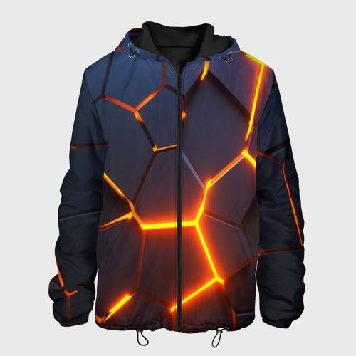 Мужская куртка 3D с принтом 3D ПЛИТЫ   NEON STEEL   НЕОНОВЫЕ ПЛИТЫ   РАЗЛОМ, вид спереди #2