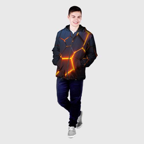 Мужская куртка 3D с принтом 3D ПЛИТЫ   NEON STEEL   НЕОНОВЫЕ ПЛИТЫ   РАЗЛОМ, фото на моделе #1