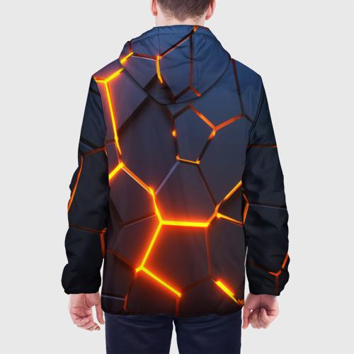 Мужская куртка 3D с принтом 3D ПЛИТЫ   NEON STEEL   НЕОНОВЫЕ ПЛИТЫ   РАЗЛОМ, вид сзади #2