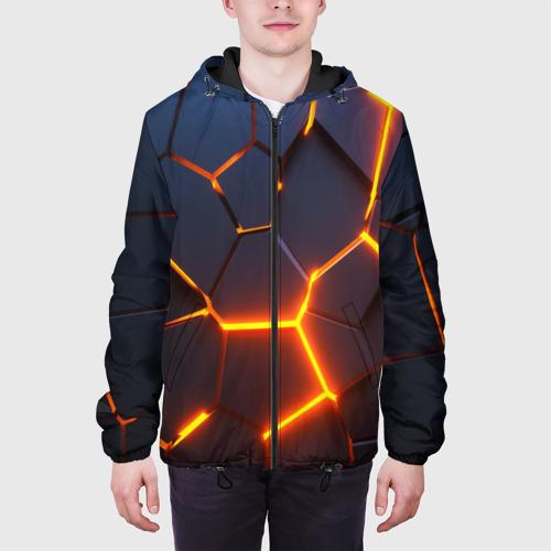 Мужская куртка 3D с принтом 3D ПЛИТЫ   NEON STEEL   НЕОНОВЫЕ ПЛИТЫ   РАЗЛОМ, вид сбоку #3