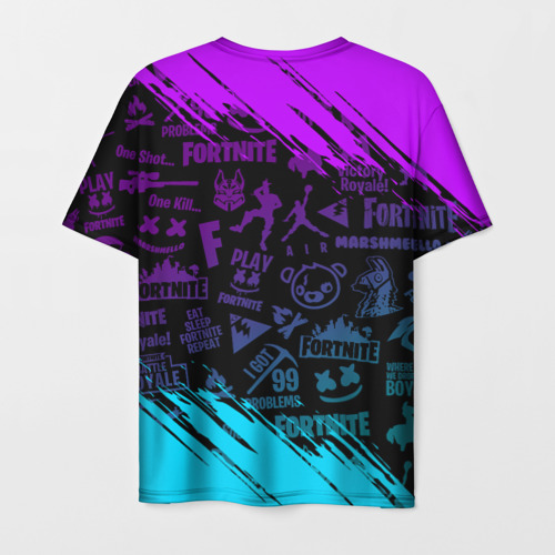 Мужская 3D футболка с принтом FORTNITE MARSHMELLO | ФОРТНАЙТ НЕОН, вид сзади #1