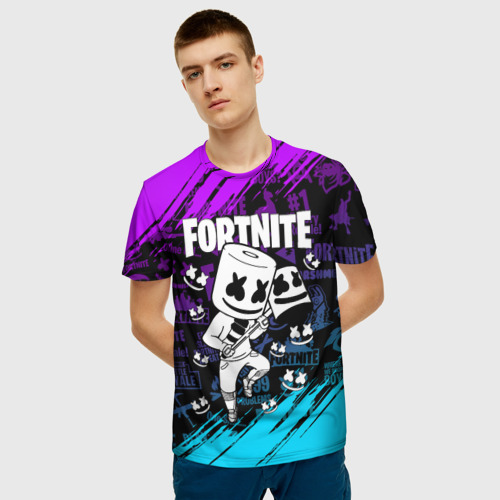 Мужская 3D футболка с принтом FORTNITE MARSHMELLO | ФОРТНАЙТ НЕОН, фото на моделе #1