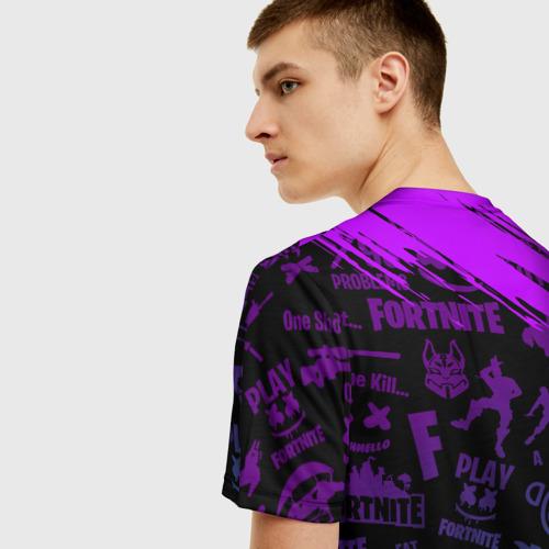 Мужская 3D футболка с принтом FORTNITE MARSHMELLO | ФОРТНАЙТ НЕОН, вид сзади #2