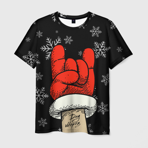 Мужская 3D футболка Рок Дед Мороз
