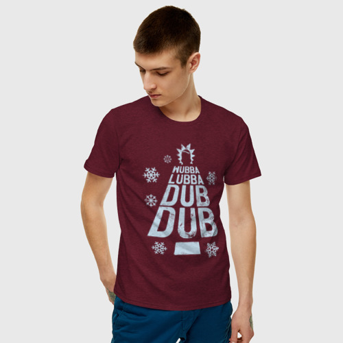Мужская футболка с принтом WUBBALUBBADUBDUB, фото на моделе #1