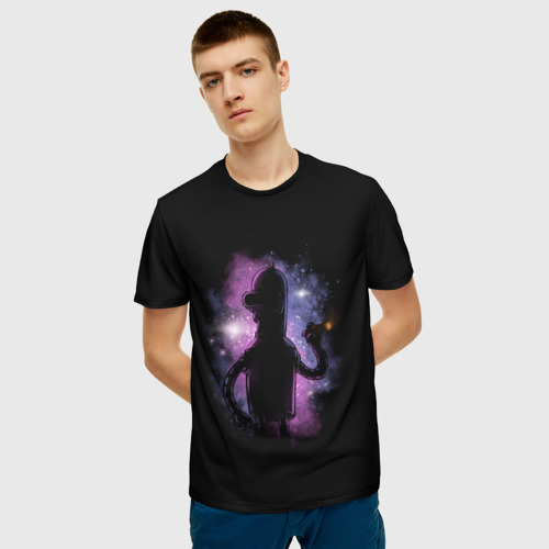 Мужская 3D футболка с принтом Futurama Bender, фото на моделе #1
