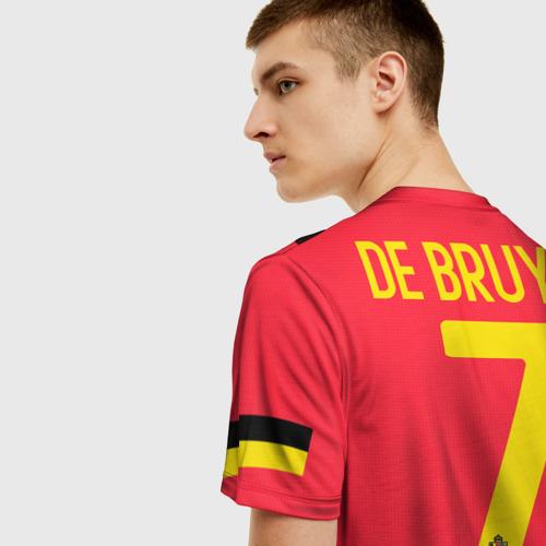 Мужская 3D футболка с принтом De Bruyne home EURO 2020, вид сзади #2