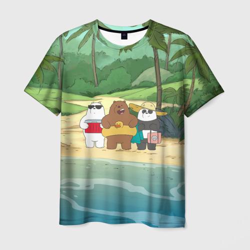 Мужская 3D футболка Bears on the beach