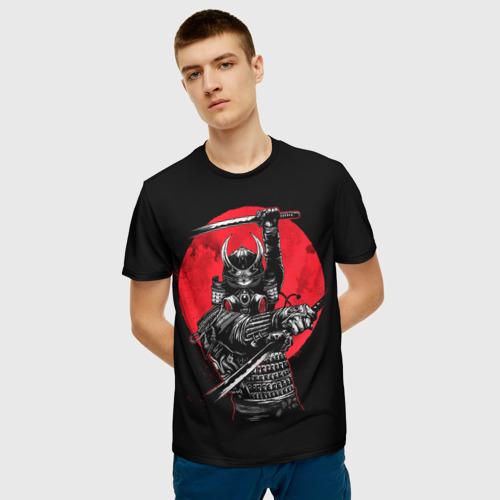 Мужская 3D футболка с принтом Sамурай, фото на моделе #1