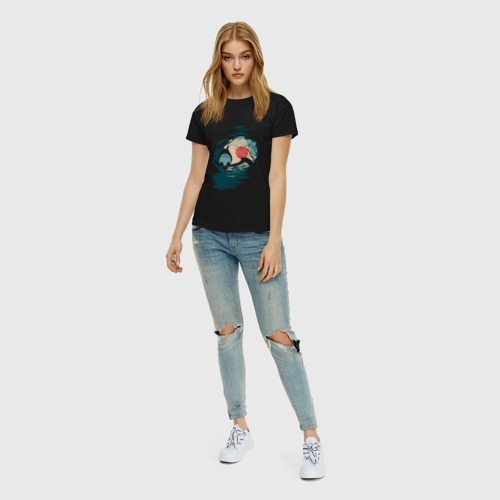 Женская футболка с принтом Тоторо в лунном свете, вид сбоку #3
