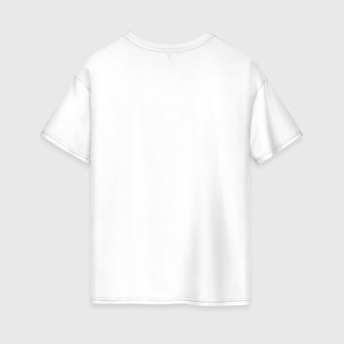 Женская футболка oversize с принтом Котик и рамен, вид сзади #1