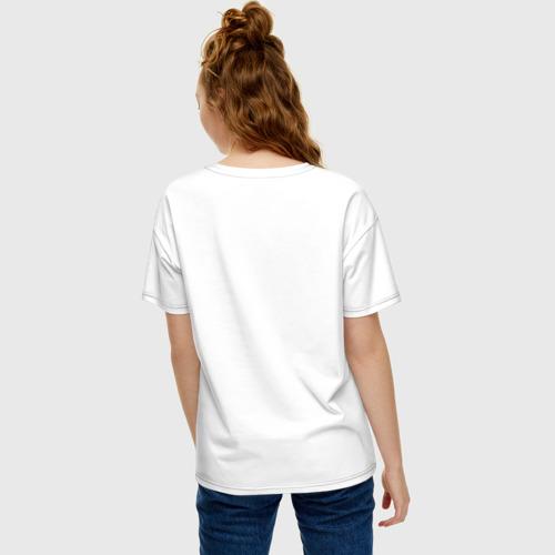 Женская футболка oversize с принтом Котик и рамен, вид сзади #2