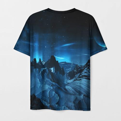 Мужская 3D футболка с принтом Северное сияние, вид сзади #1