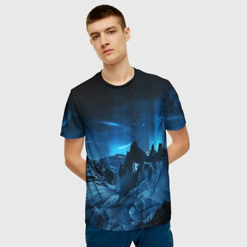 Мужская 3D футболка с принтом Северное сияние, фото на моделе #1