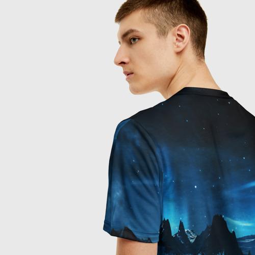 Мужская 3D футболка с принтом Северное сияние, вид сзади #2