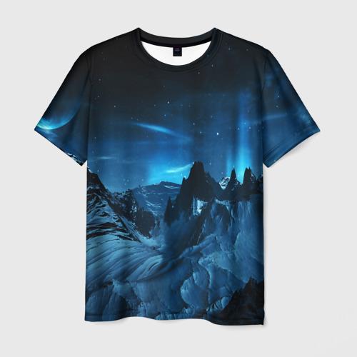 Мужская 3D футболка с принтом Северное сияние, вид спереди #2