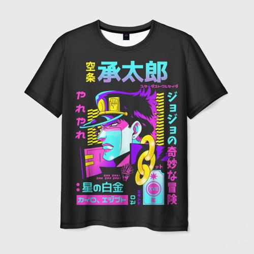 Мужская 3D футболка Дзётаро разноцветные надписи