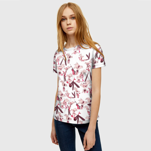 Женская 3D футболка с принтом Hazbin Hotel: Angel Dust, фото на моделе #1