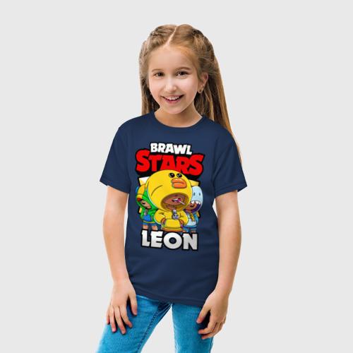 Детская футболка с принтом BRAWL STARS LEON, вид сбоку #3